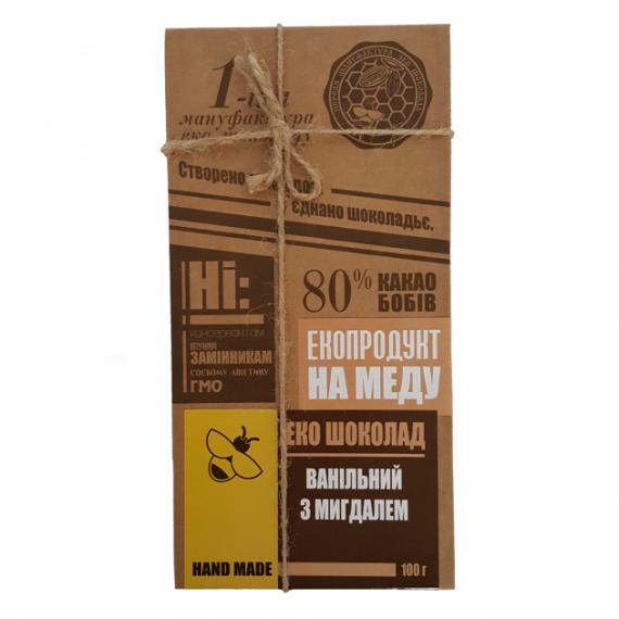 Еко шоколад Ванільний з мигдалем, 100 г Перша Мануфактура Еко Шоколаду