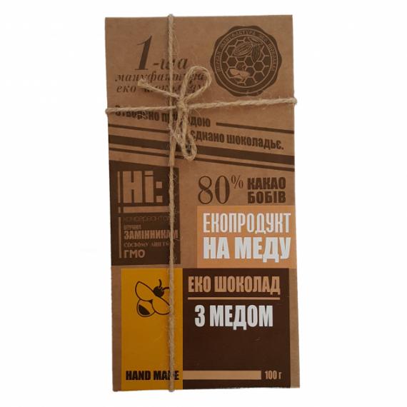 Еко шоколад з медом, 100 г Перша Мануфактура Еко Шоколаду