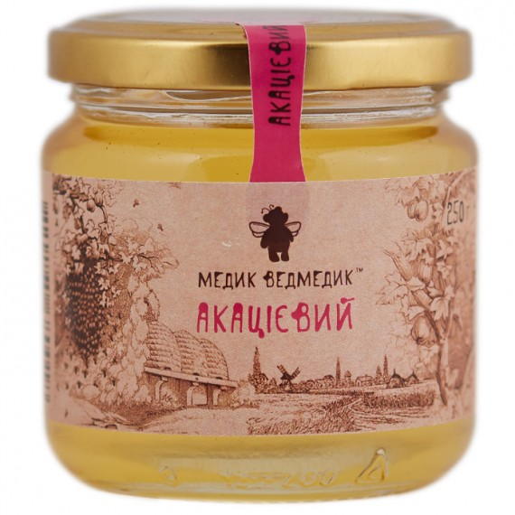 Мед акацієвий, 1100 г Медик Ведмедик