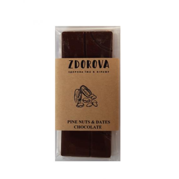 Шоколад кедровий горіх&фініки, 30г ZDOROVA