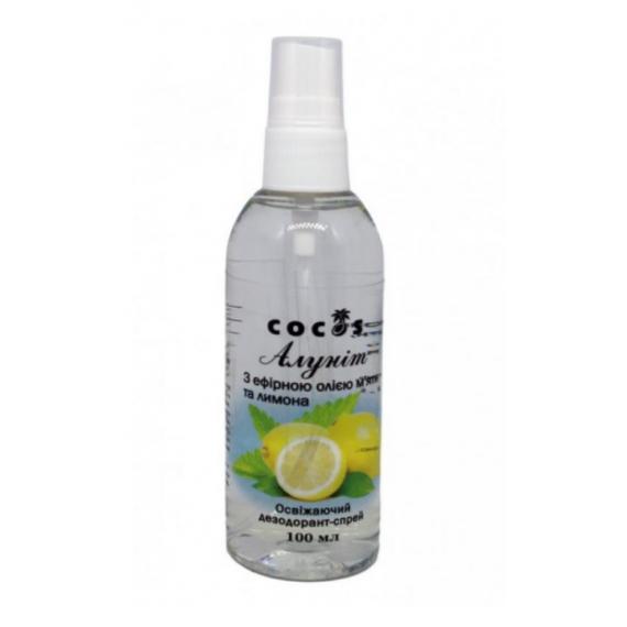 Алуніт спрей з ефірними оліями м'яти та лимону, 100мл Cocos