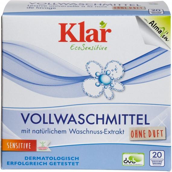 Органічний універсальний пральний порошок з екстрактом мильного горіха без запаху, 1,1кг Klar