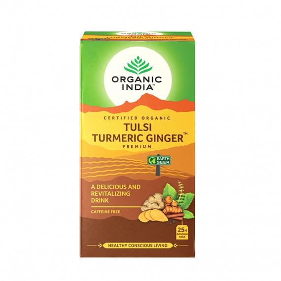 Органічний трав'яний чай Тулсі імбир-куркума, 25 пакетиків Organic India