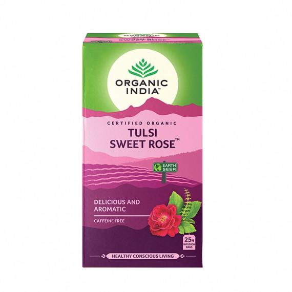 Органічний трав'яний чай Тулсі солодка троянда, 25пакетиків Organic India