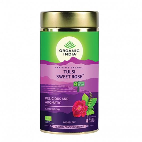Органічний трав'яний чай Тулсі солодка троянда, 100г Organic India