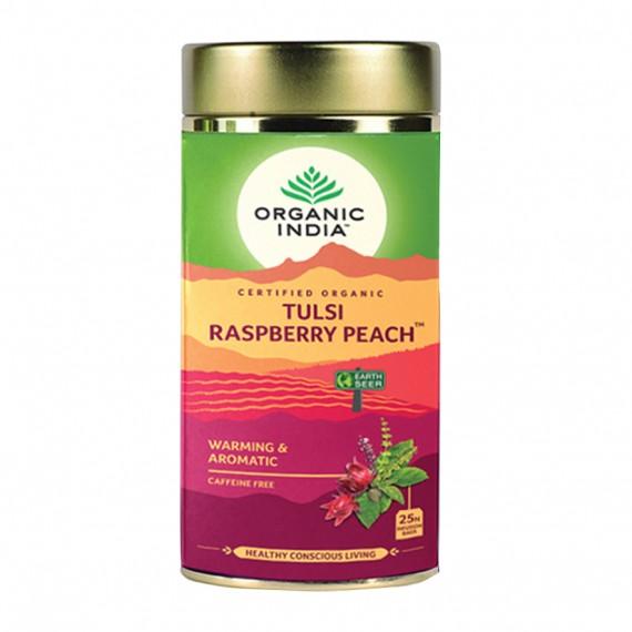 Органічний трав'яний чай Тулсі з гібіскусом, персиком і малиною, 100г Organic India
