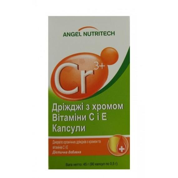 Дріжджі з хромом та вітаміни С і Е, 90 капсул Аngel Nutritech