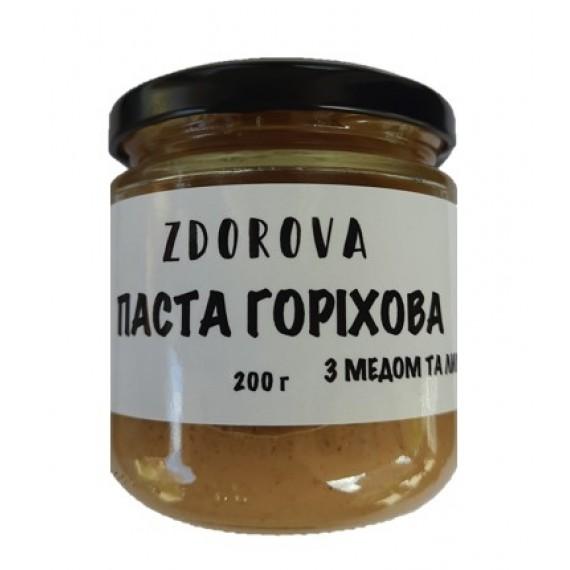 Паста волоського горіху з медом та лимоном, 200г ZDOROVA