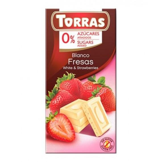 Білий шоколад без цукру з полуницею (без глютену), 75г Torras