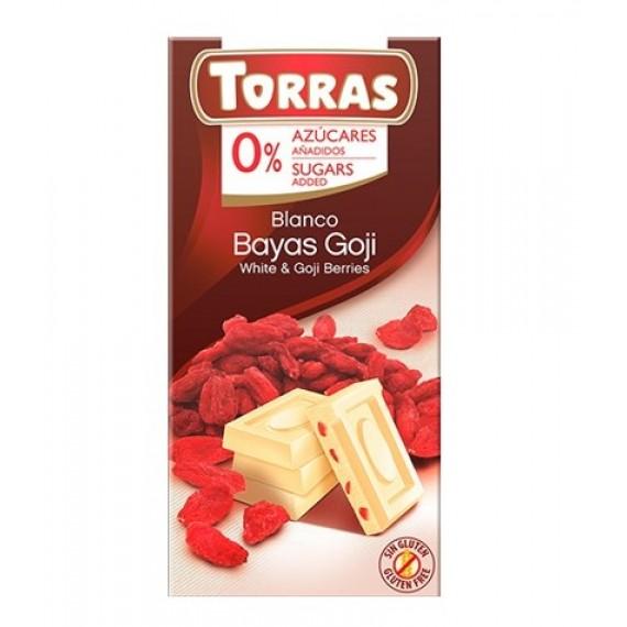 Білий шоколад без цукру з ягодами Годжі (без глютену), 75г Torras