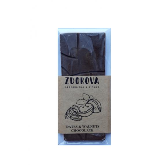 Шоколад Фініки&волоський горіх, 30г ZDOROVA