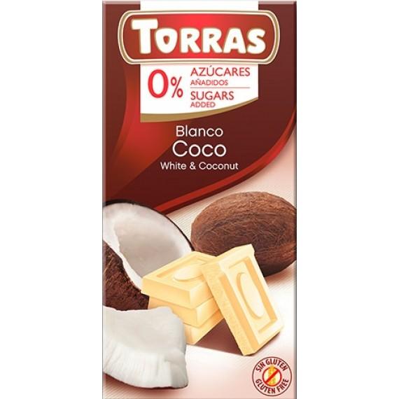 Білий шоколад без цукру з кокосом (без глютену), 75г Torras