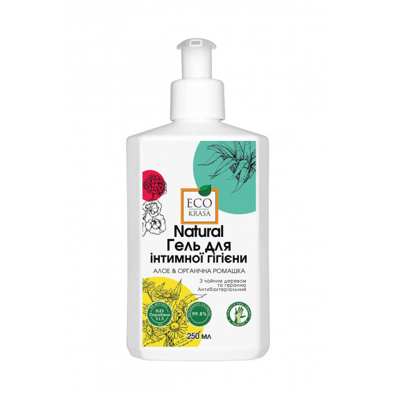 Натуральний гель для інтимної гігієни Алое та органічна ромашка, 250 мл, EcoKrasa