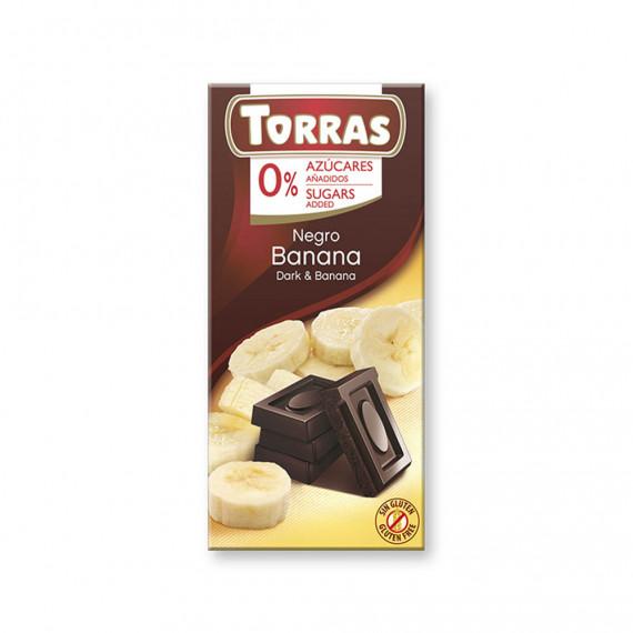 Чорний шоколад без цукру з бананом (без глютену), 75г Torras