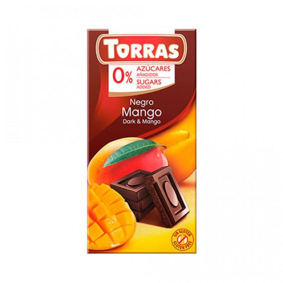 Чорний шоколад без цукру з манго (без глютену), 75г Torras