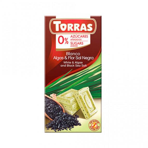 Білий шоколад без цукру з морською сіллю і водоростями (без глютену), 75г Torras