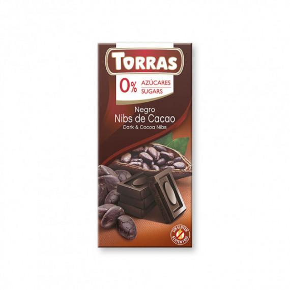 Чорний шоколад без цукру з какао бобами (без глютену), 75г Torras