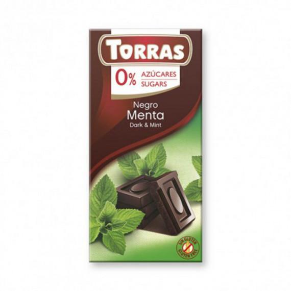 Чорний шоколад без цукру з м'ятою (без глютену), 75г Torras