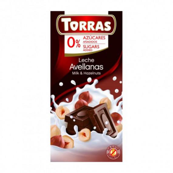 Молочний шоколад без цукру з фундуком (без глютену), 75г Torras