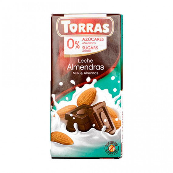 Молочний шоколад без цукру з мигдалем (без глютену), 75г Torras