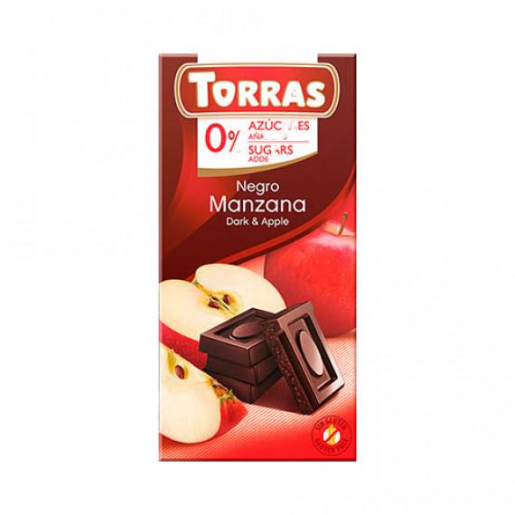 Чорний шоколад без цукру з яблуком (без глютену), 75г Torras