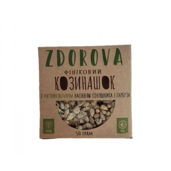 """Козинак """"Фініковий козинашок з активованим насінням соняшника і гарбуза"""" 50г ZDOROVA"""