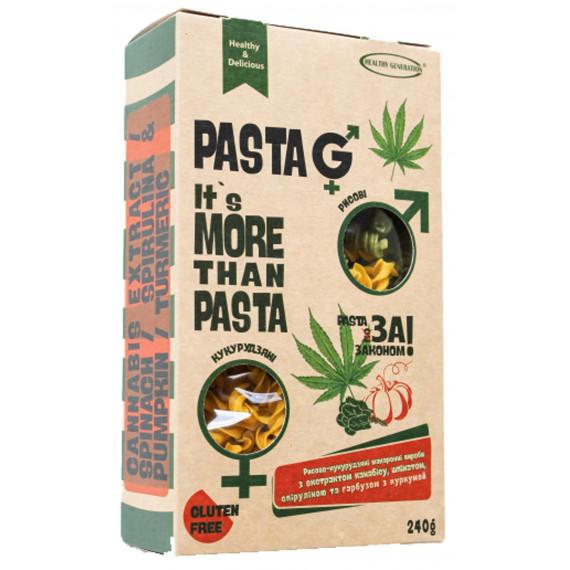 Макарони рисово-кукурудзяні з екстрактом канабісу, шпинатом, спіруліною та гарбузом з куркумою, 240г Healthy Generation
