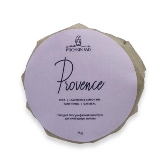 """Твердий безсульфатний шампунь для сухої шкіри голови """"Provence"""", 75г Ptichkin sad"""