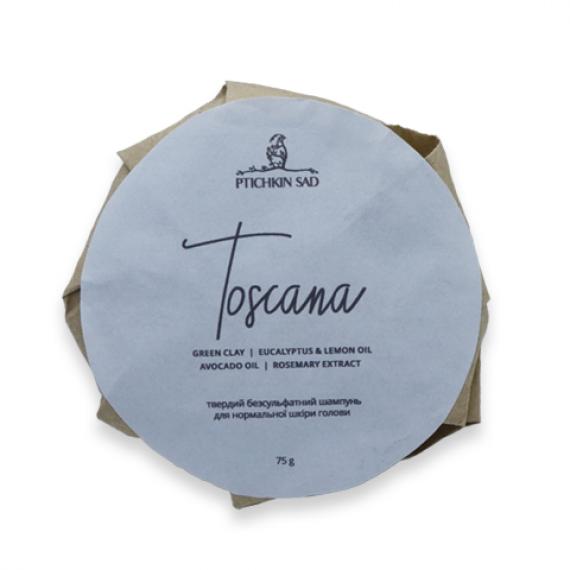 "Твердий безсульфатний шампунь для нормальної шкіри голови ''Toscana"", 75г Ptichkin sad"