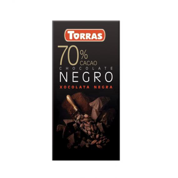 Чорний шоколад 70% (без глютену), 80г Torras