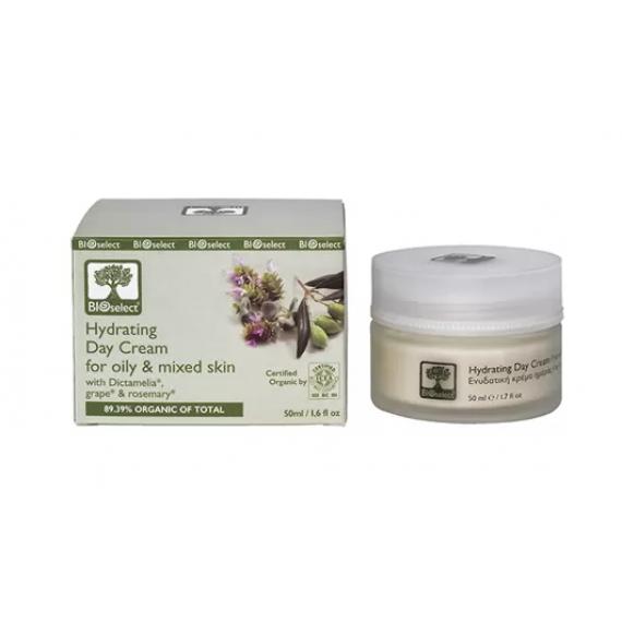 Зволожуючий денний крем для жирної і змішаної шкіри з Діктамелію і червоним виноградом, 50 мл Bio Select