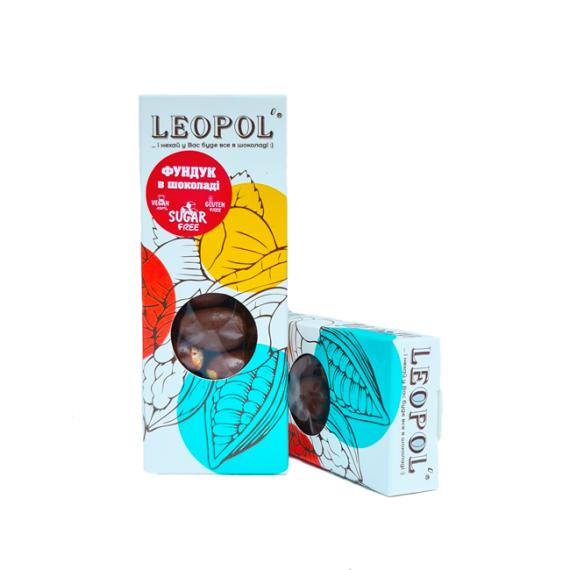 Фундук в чорному шоколаді, 50г Leopol