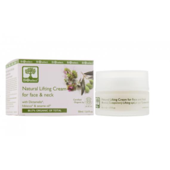 Крем-ліфтинг для обличчя та шиї з діктамеліей, гібіскусом та олією кунжуту, 50мл Bio select