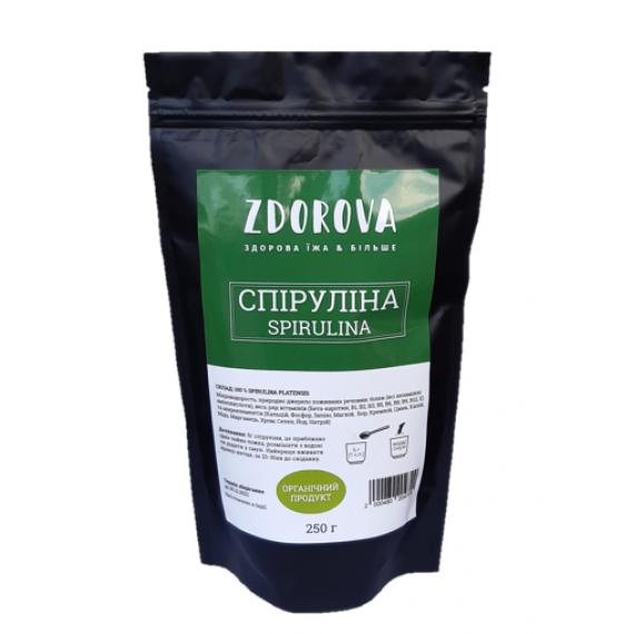 Подрібнена спіруліна органічна, 250г ZDOROVA