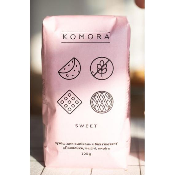 """Суміш Sweet """"Панкейки, вафлі, пиріг"""" безглютенова, 500г Komora"""