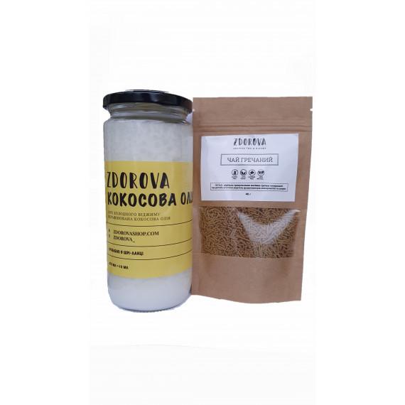Комбо кокосова олія органічна 470мл та гречишний чай 40г, ZDOROVA