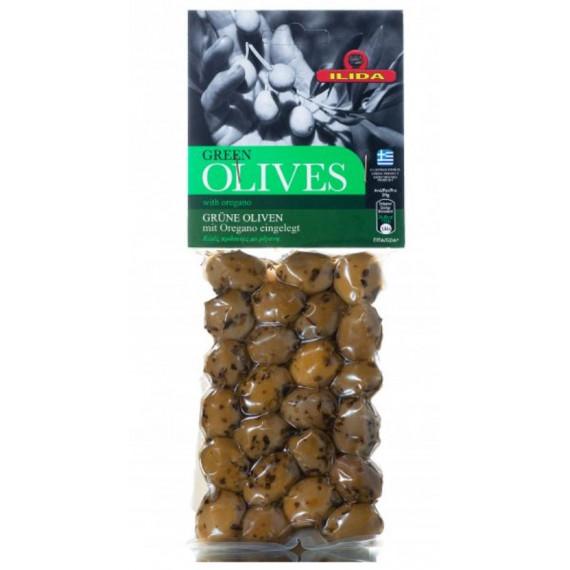 Оливки зелені з орегано з кісточкою, 250г ILIDA