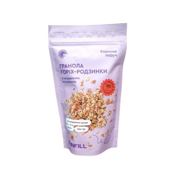 Гранола горіх-родзинки 150г, Sunfill