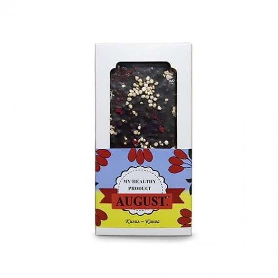 Натуральний шоколад з кизилом та кіноа, 80 г August