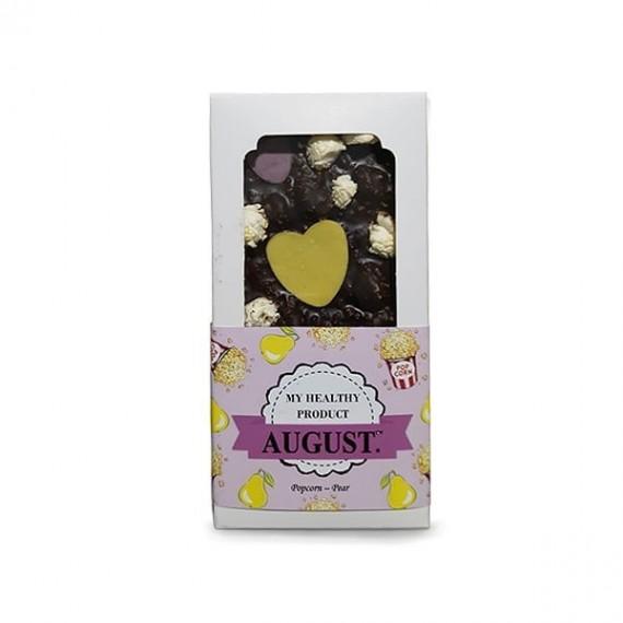 Натуральний шоколад з солоним попкорном та медовою грушею, 100 г August