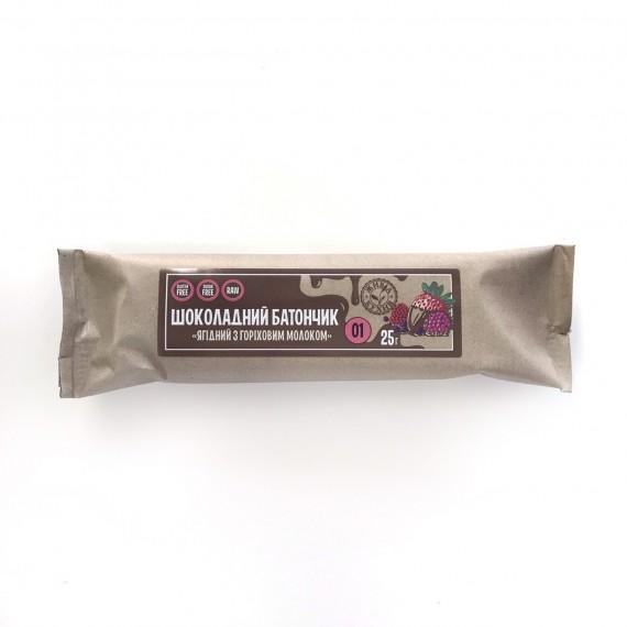 """Шоколадний  батончик """"Ягідний з горіховим молоком"""", 25 г Жива Кухня"""