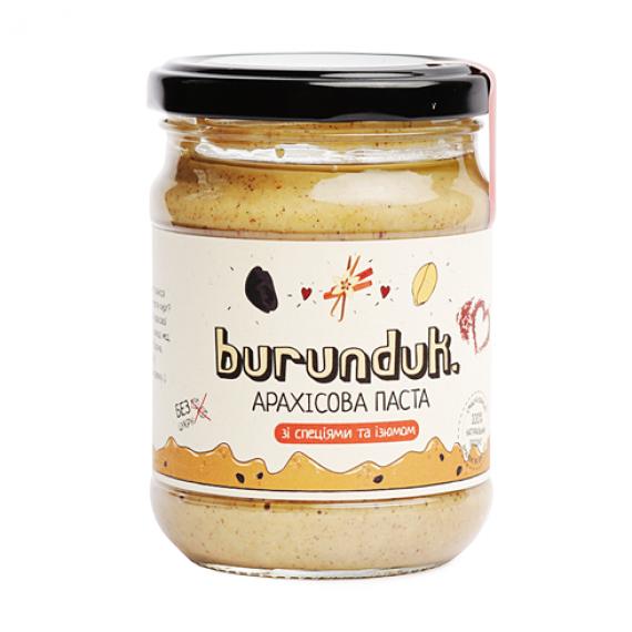 Арахісова паста зi спецiями та родзинками, 250 г Burunduk