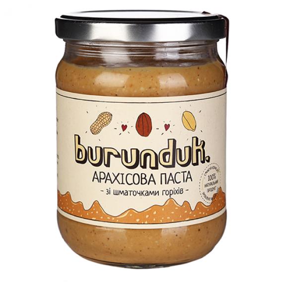 Арахісова паста зі шматочками горіхів, 450гр Burunduk