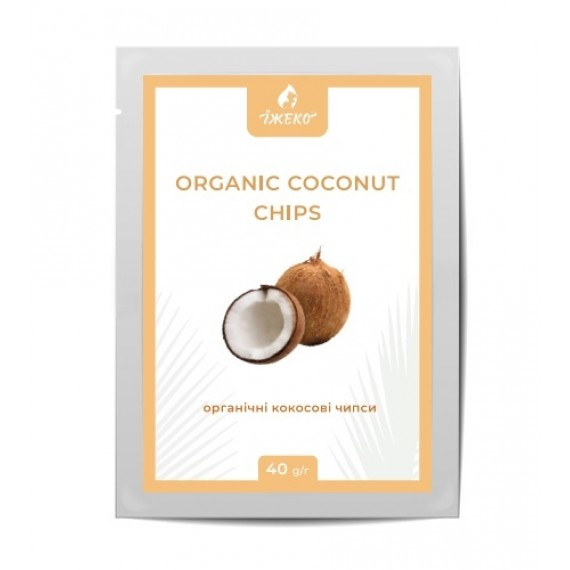 Органiчнi кокосовi чіпси, 40г