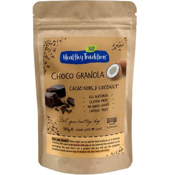 Гранола какао крупка, кокос, 200 г Healthy Tradition