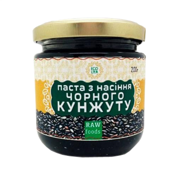 Паста з насiння чорного кунжуту (урбеч), 200 г Ecoliya