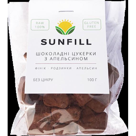 Шоколадно - апельсиновi цукерки, 100 г Sunfill