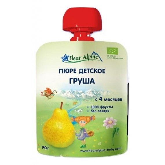 "Пюре фруктове ""Груша"", 90 г Fleur Alpine"