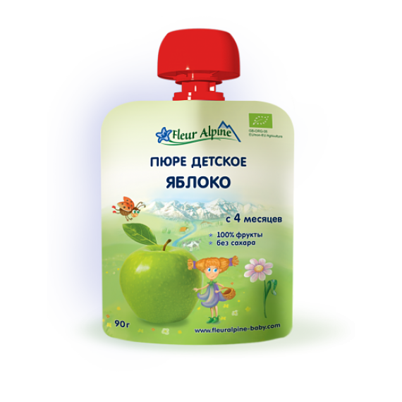"Пюре фруктове ""Яблуко"", 90 г Fleur Alpine"