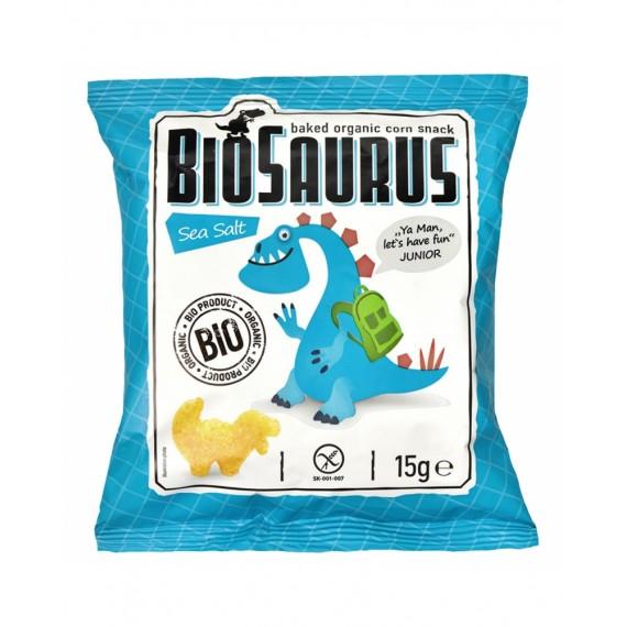 Кукурудзяні снеки з морською сіллю органічні biosaurus, 15 г